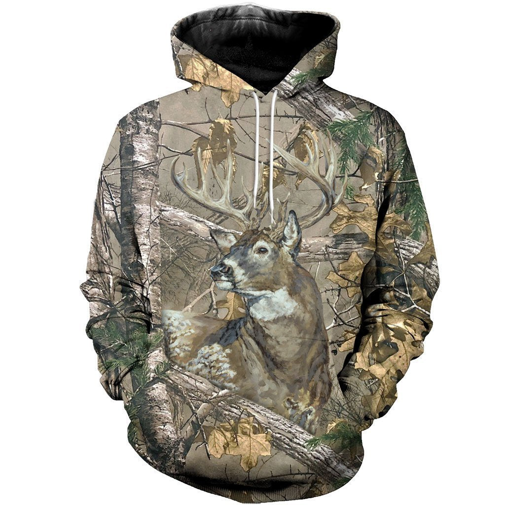 3D All Over Printed Deer in Camo-Apparel-HP Arts-Hoodie-S-Vibe Cosy™