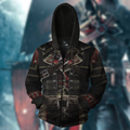 3D All Over Printed Assassin Knights Templar Tops-Apparel-HP Arts-ZIPPED HOODIE-S-Vibe Cosy™