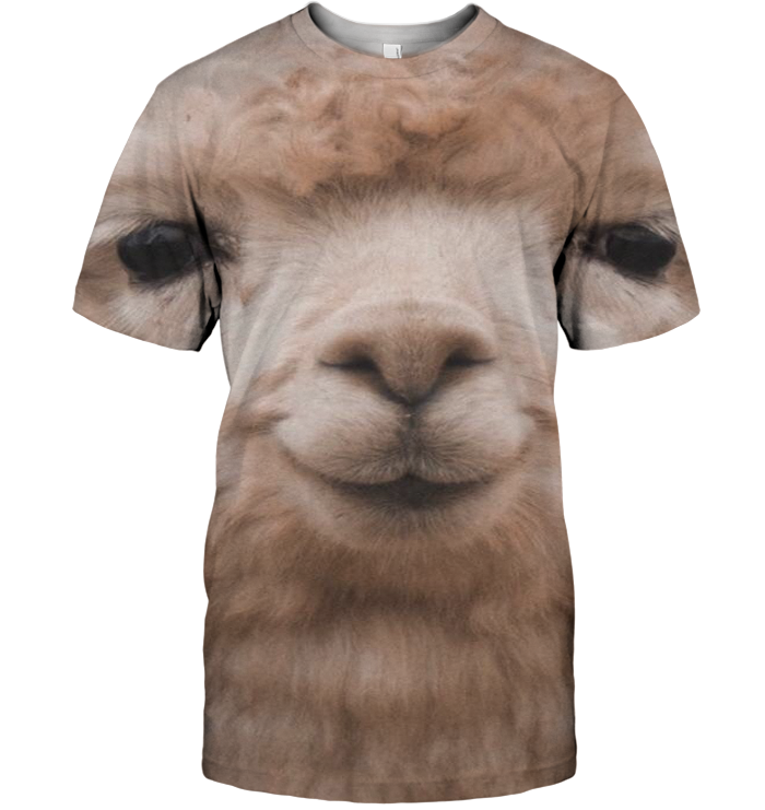 3D All Over Print Llama Face Shirt-Apparel-6teenth World-T-Shirt-S-Vibe Cosy™