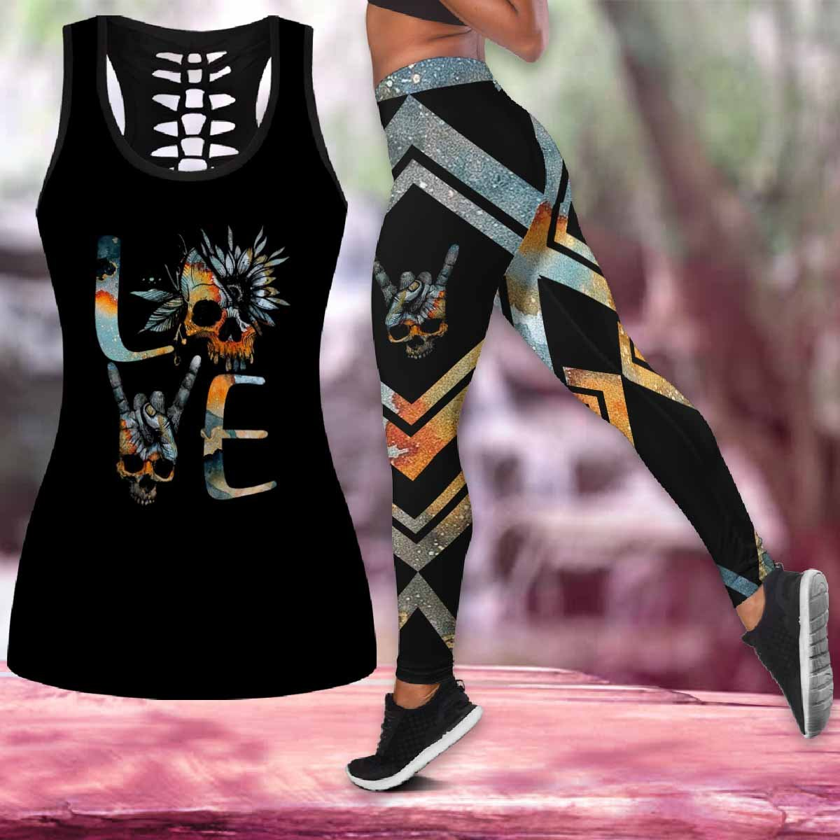 Love Skull Tattoo Combo Tank top Legging Outfit for women PL280308-Apparel-PL8386-S-S-Vibe Cosy™