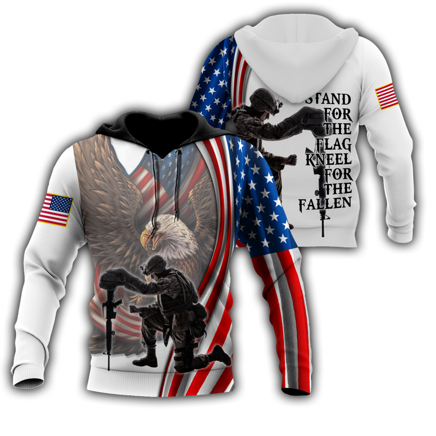 Stand For The Flag Knee For The Fallen 3D All Over Printed Shirts For Men and Women