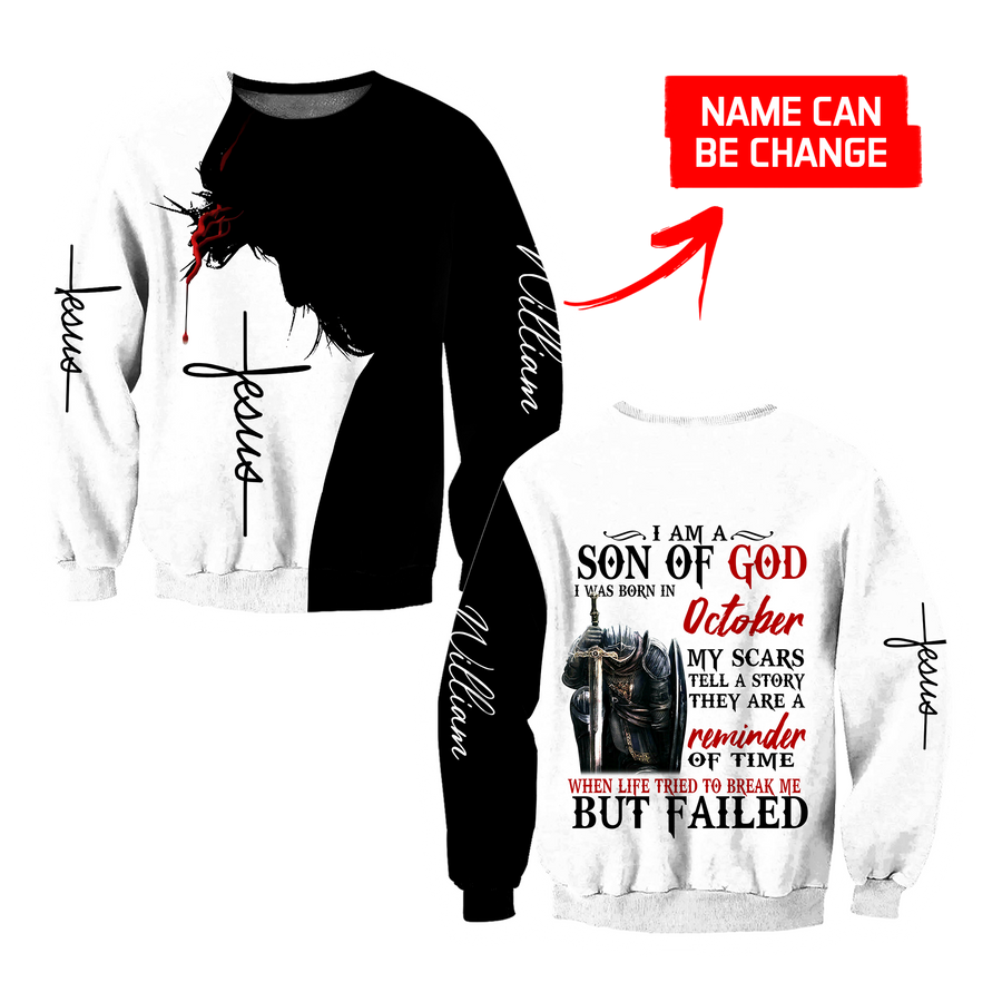 October Guy- I Am A Child Of God I Was Born In October 3D All Over Printed Shirts For Men and Women TA10032005S10