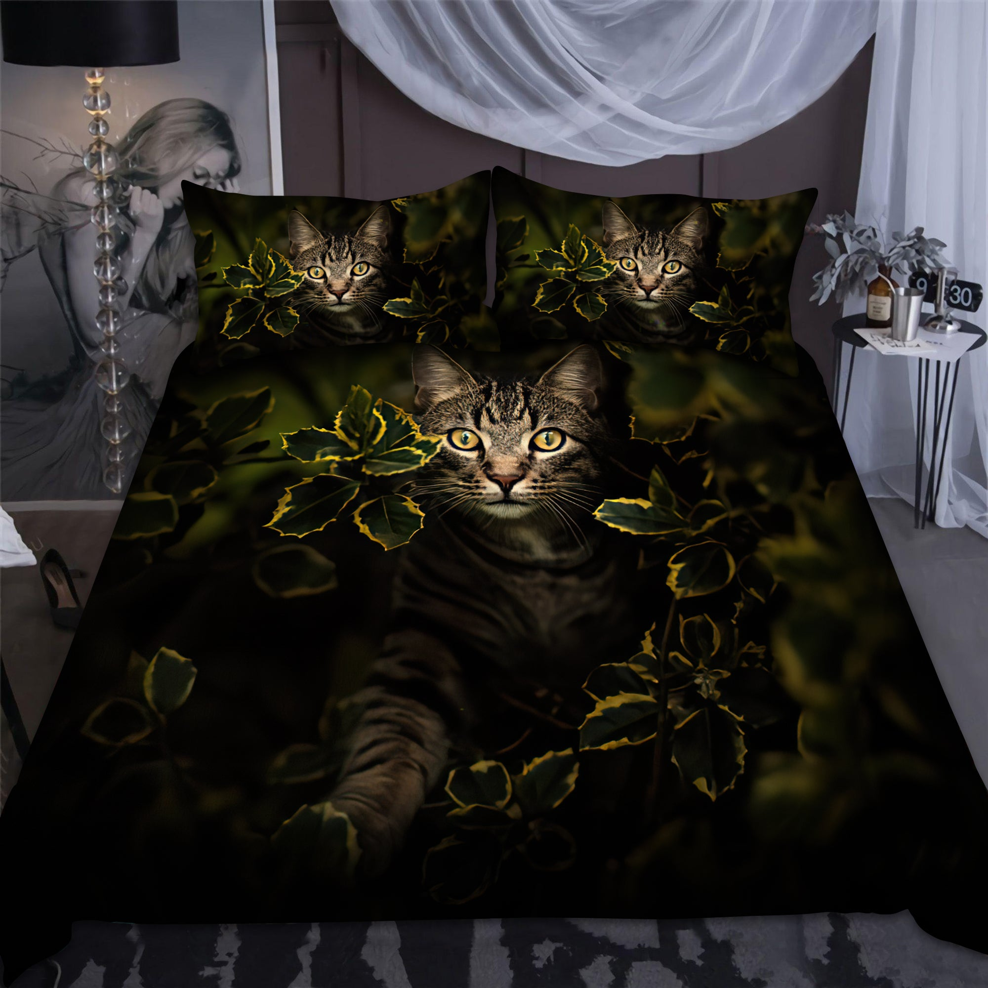 Cat And Leaf Bedding Set Pi24072002-LAM-BEDDING SETS-LAM-US Twin-Vibe Cosy™