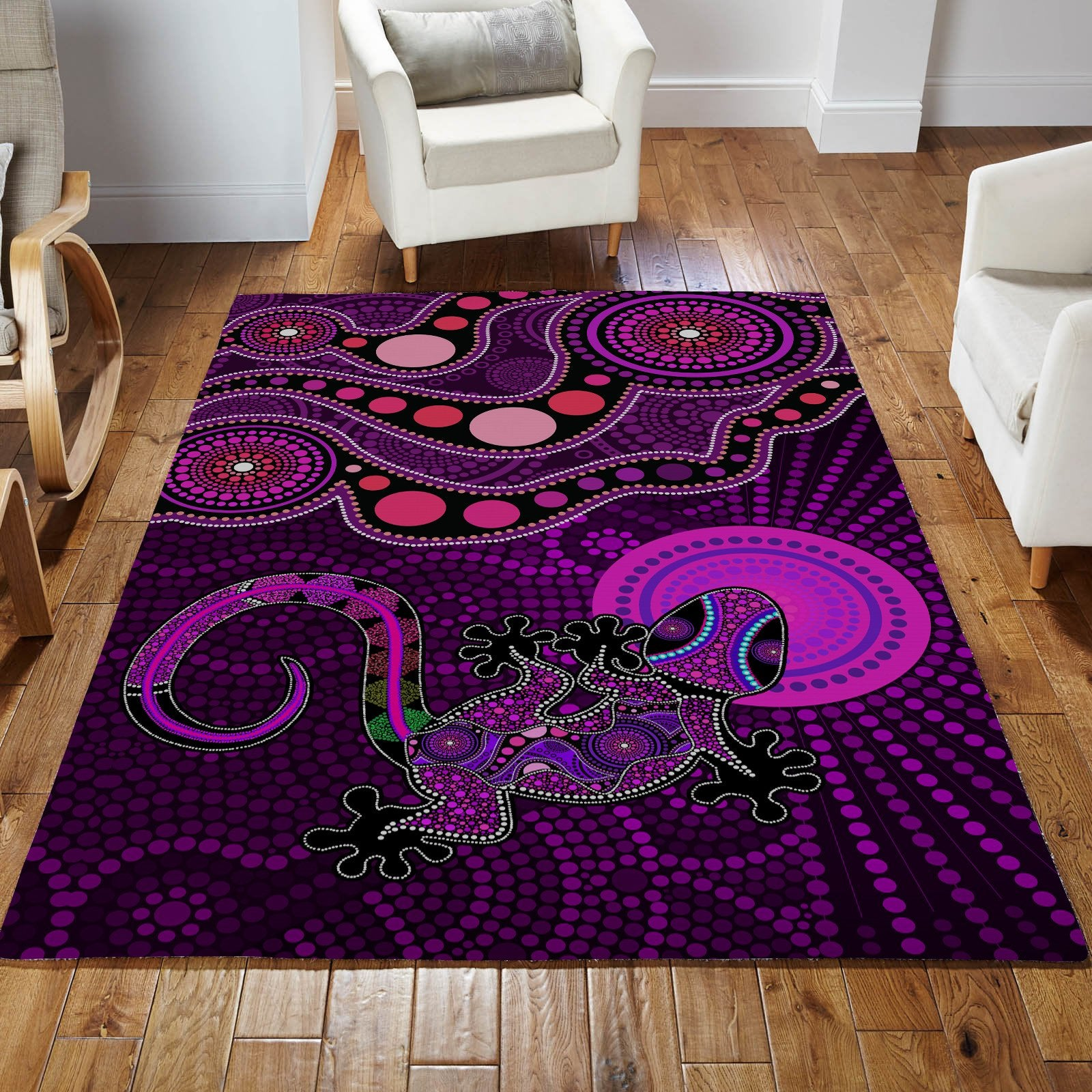Aboriginal Purple The Lizard and The Sun Australia Indigenous Rug