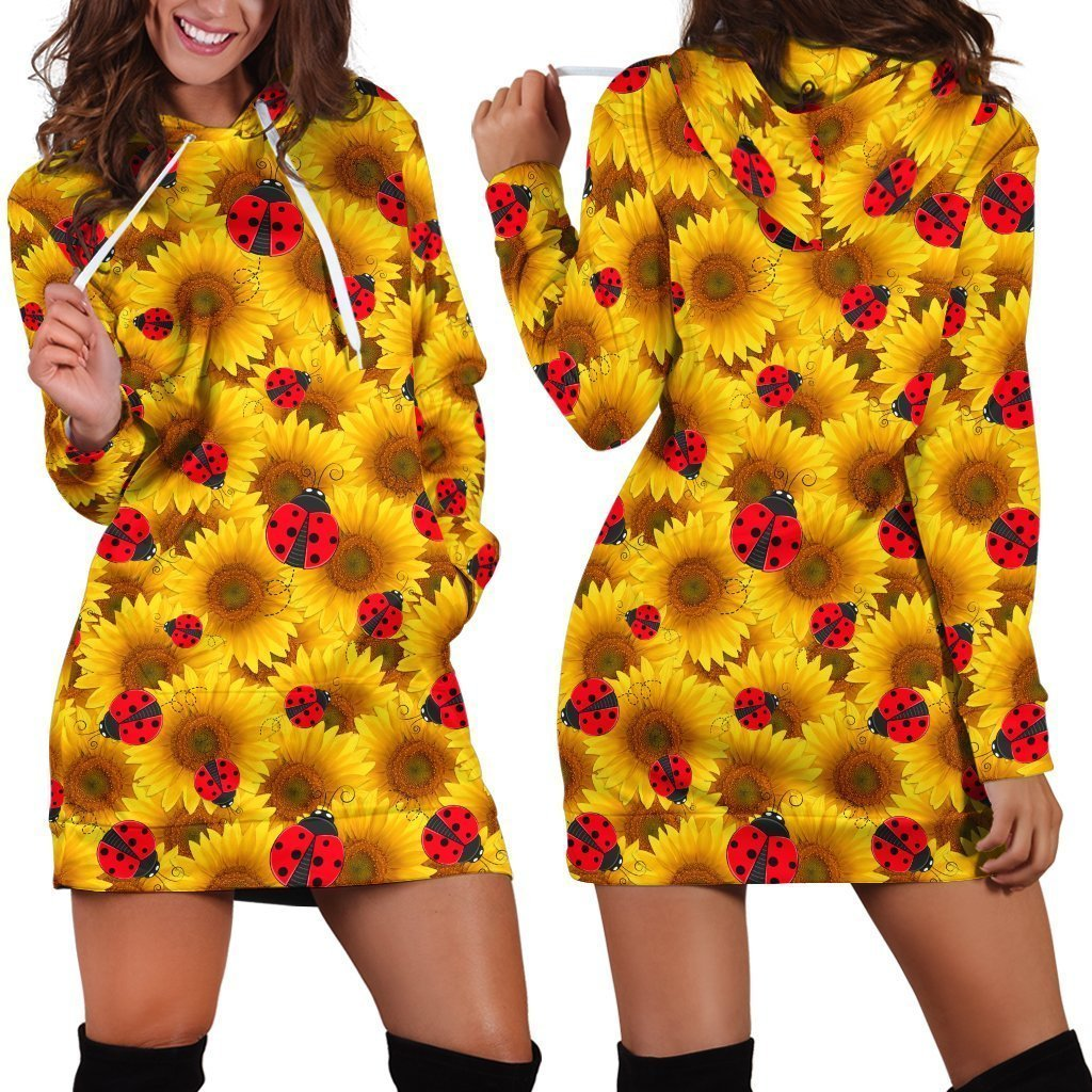 All Over Printing The Bug Sunflower Hoodie Dress-Apparel-Phaethon-Hoodie Dress-S-Vibe Cosy™