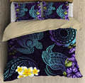 Cook Islands Beautiful Purple Turtles Tipani Hibiscus Tattoo Bedding Set