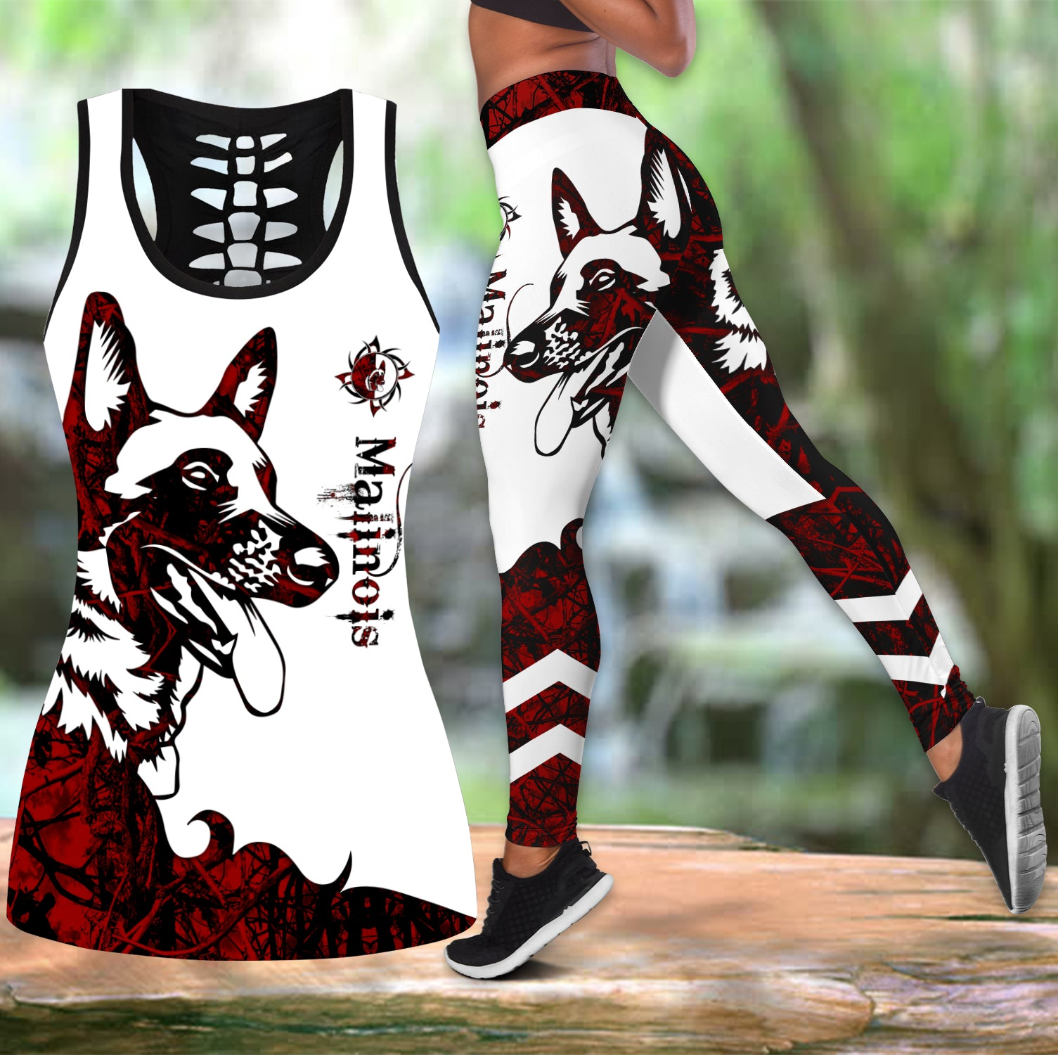 Malinois red tattoos legging + hollow tank combo DD08122005