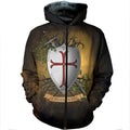 3D All Over Printed Knights Templar Shirts and Shorts-Knights Templar-RoosterArt-Zipped Hoodie-XS-Vibe Cosy™