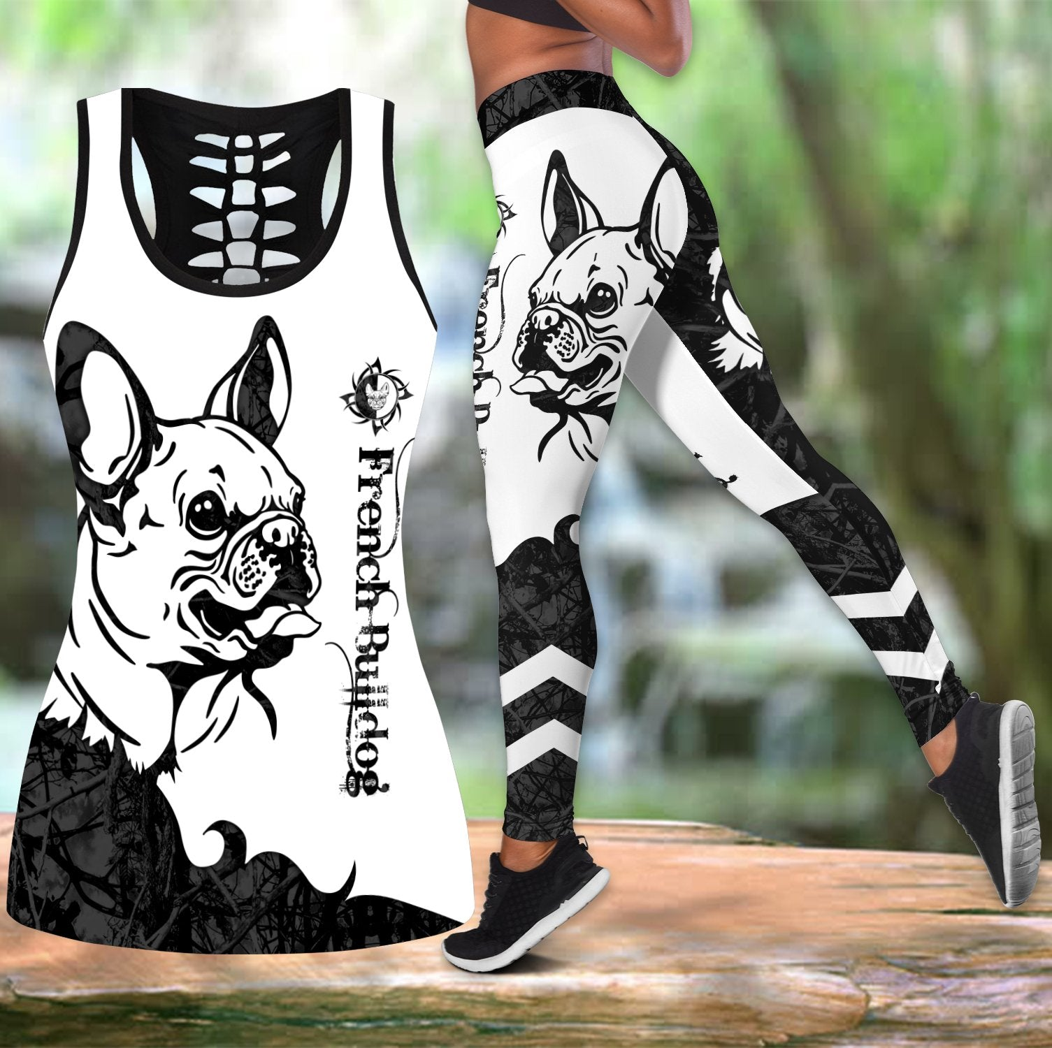 French bulldog black tattoos legging + hollow tank combo DD08142004S