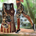 German shepherd tattoos legging + hollow tank combo DD07312002