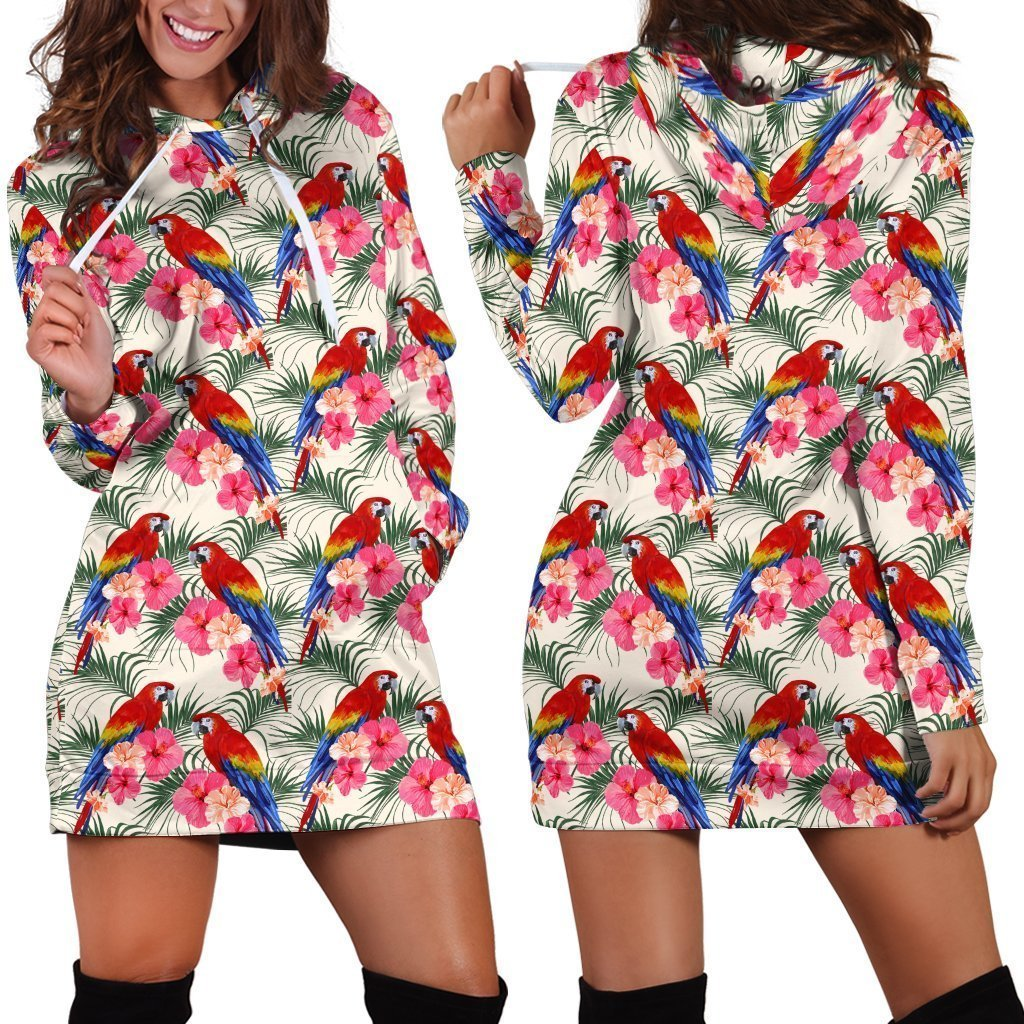 All Over Printing Scarlet Macaw And Flower Hoodie Dress-Apparel-Phaethon-Hoodie Dress-S-Vibe Cosy™