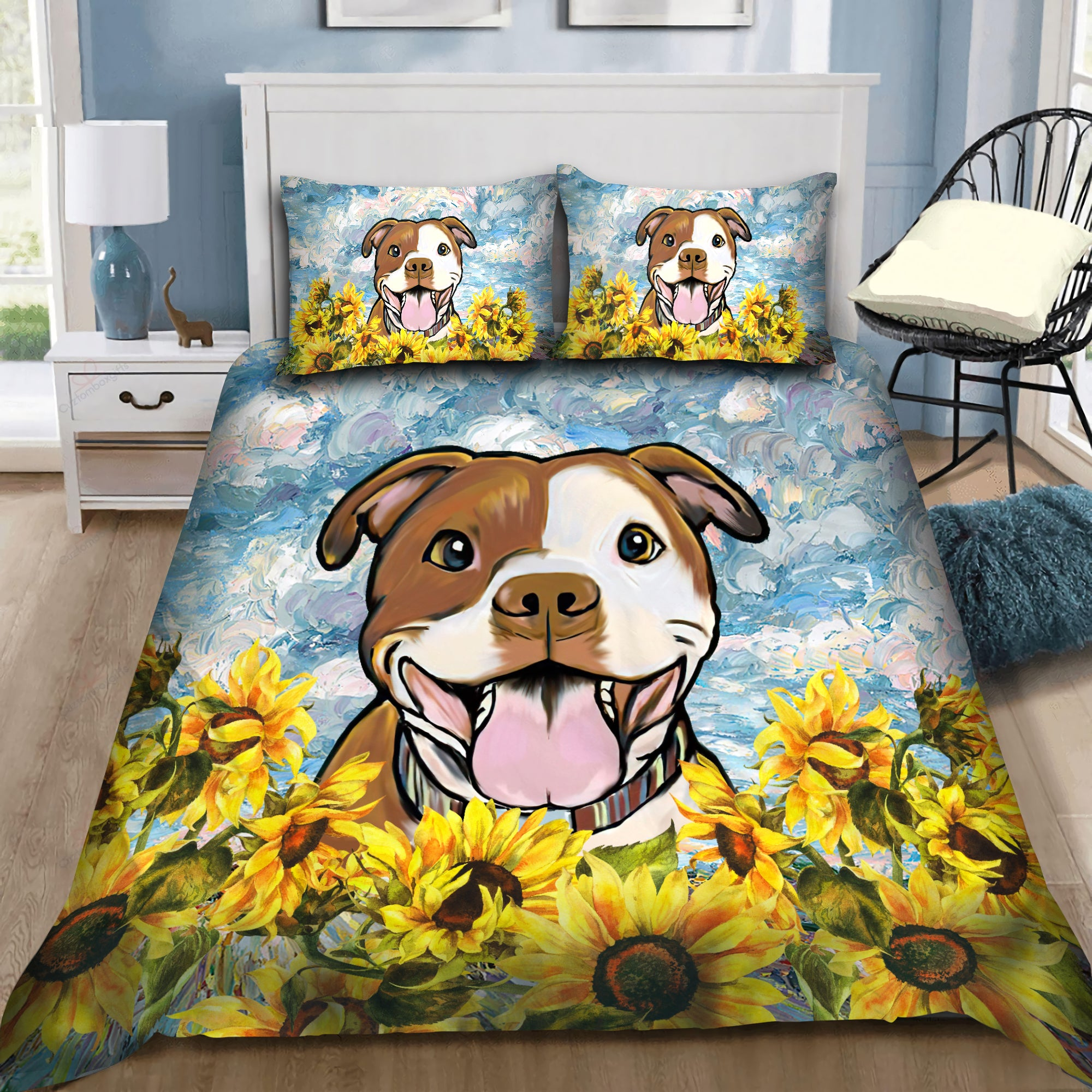 Staffordshire Terrier Sunflower Bedding 3D AM072068-LAM-BEDDING SETS-LAM-Twin-Vibe Cosy™
