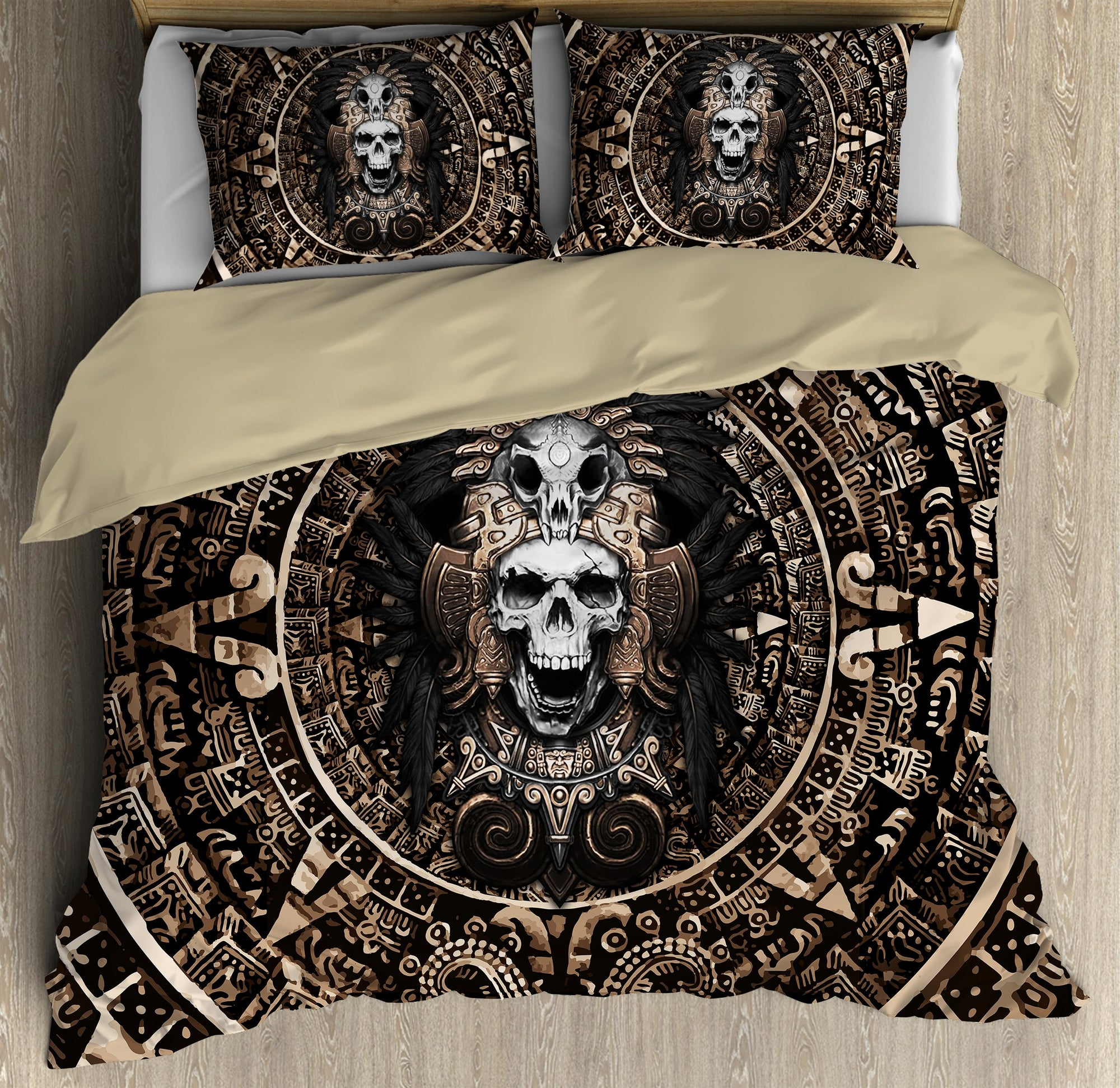 Mexican Aztec Skull Warrior  Bedding Set QB07022005