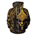 3D All Over Aztec Warrior Mexican Hoodie Yellow-Apparel-HP Arts-Zipped Hoodie-S-Vibe Cosy™