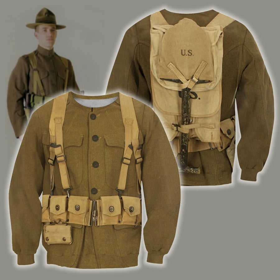 3D All Over Printed U.S. WWI Soldier Shirts-Apparel-HP Arts-Hoodie-S-Vibe Cosy™
