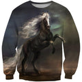 3D All Over Print Black Horse In The Dark Shirts-Apparel-Phaethon-Sweatshirt-S-Vibe Cosy™