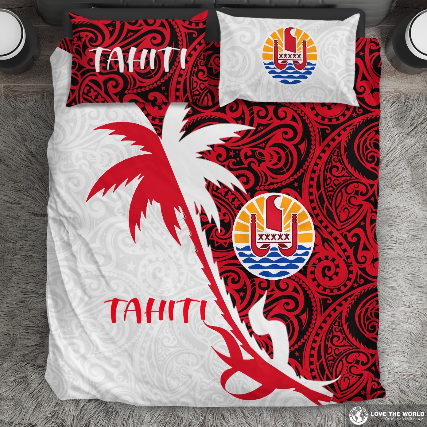 Tahiti Polynesian Coconut Tree Bedding Set K4-BEDDING SETS-Khanh Arts-US Queen/Full-Vibe Cosy™