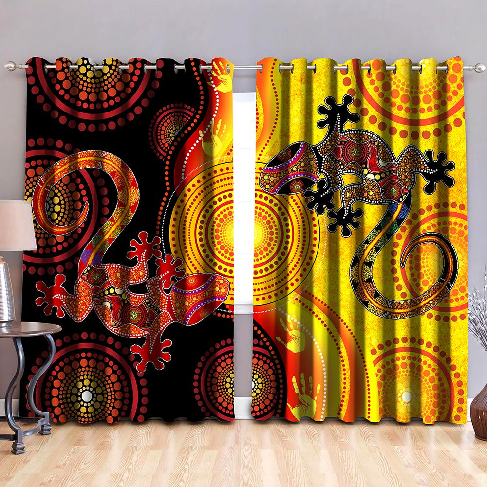 Aboriginal Australia Indigenous Lizards and the Sun Thermal Grommet Window Curtains-Curtains-Huyencass-52'' x 63''-Vibe Cosy™