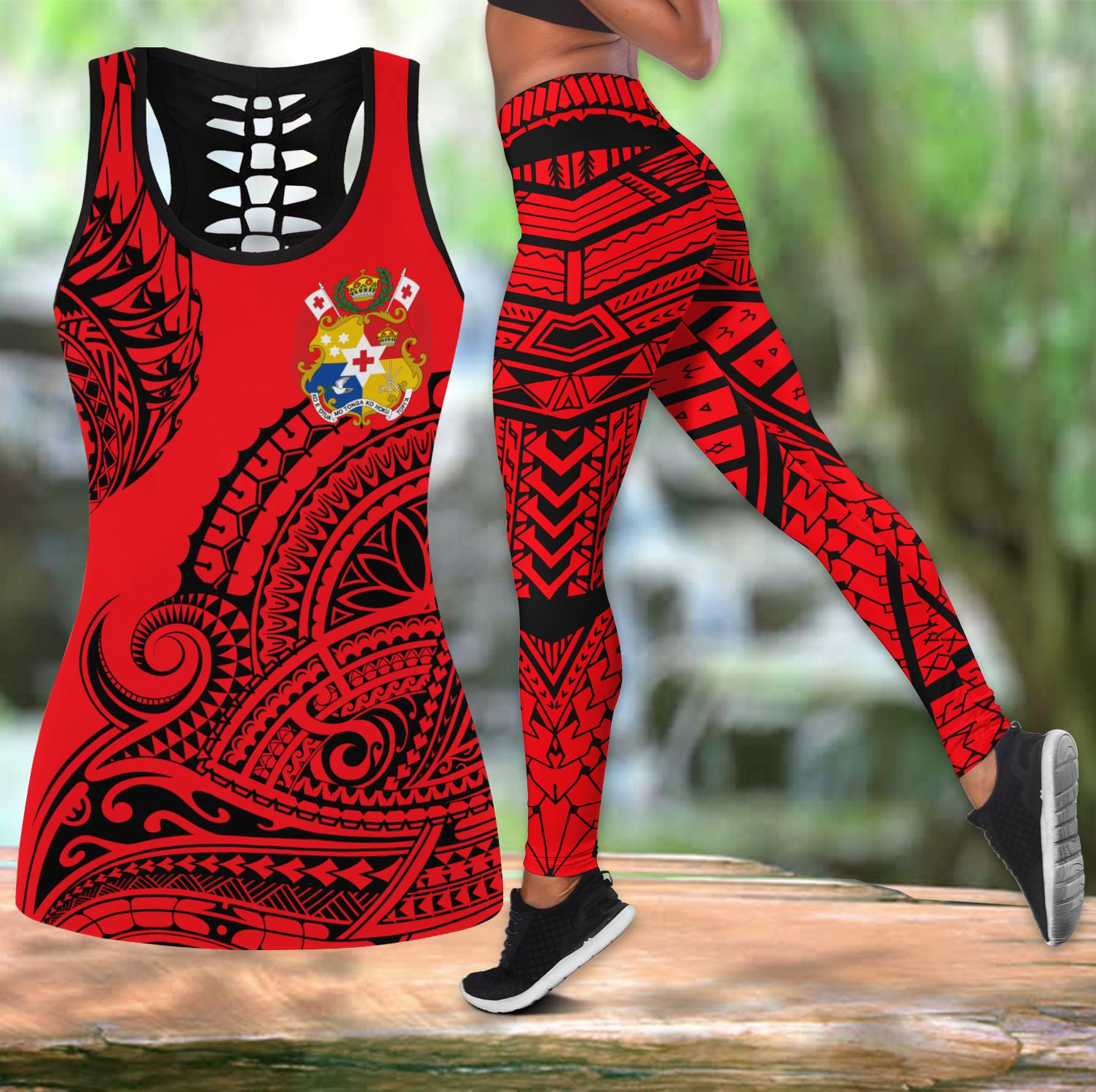 Polynesian Tonga Youthful Dynamic Style Red Color Legging & Tank top-ML-Apparel-ML-S-S-Vibe Cosy™