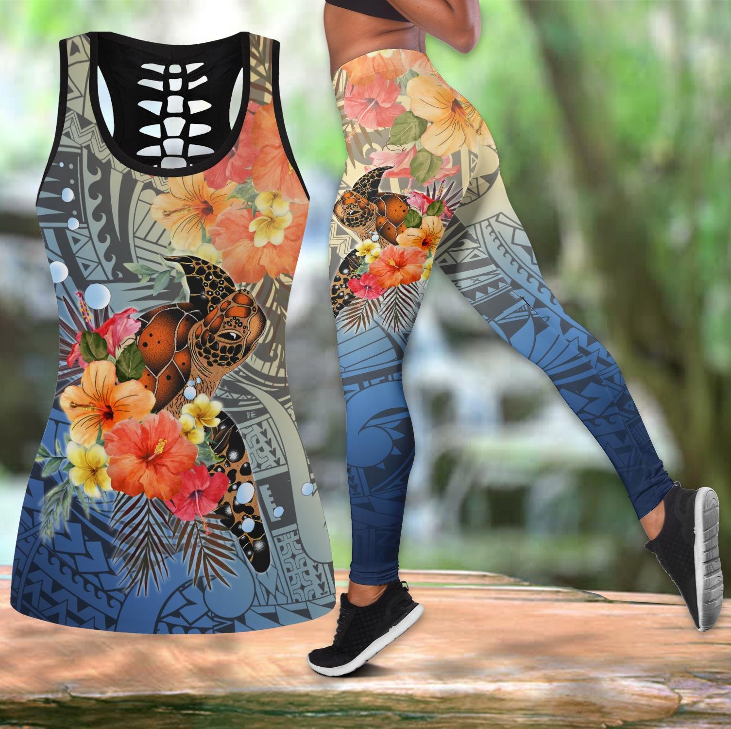 Polynesian Tattoo Turtle Hibiscus Legging & Tank top-ML