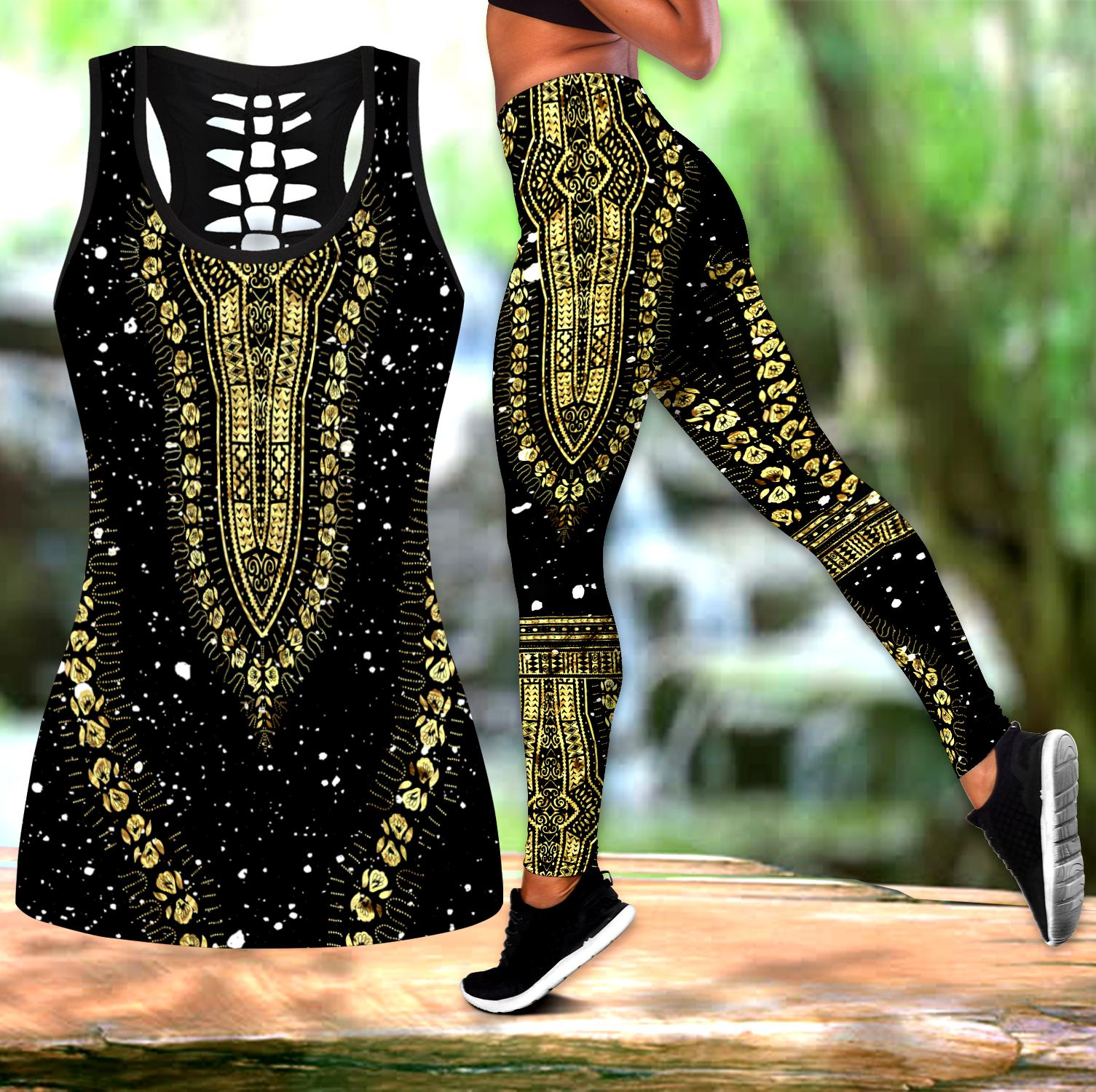 African Golden Luxury Pattern III Legging & Tank top-ML