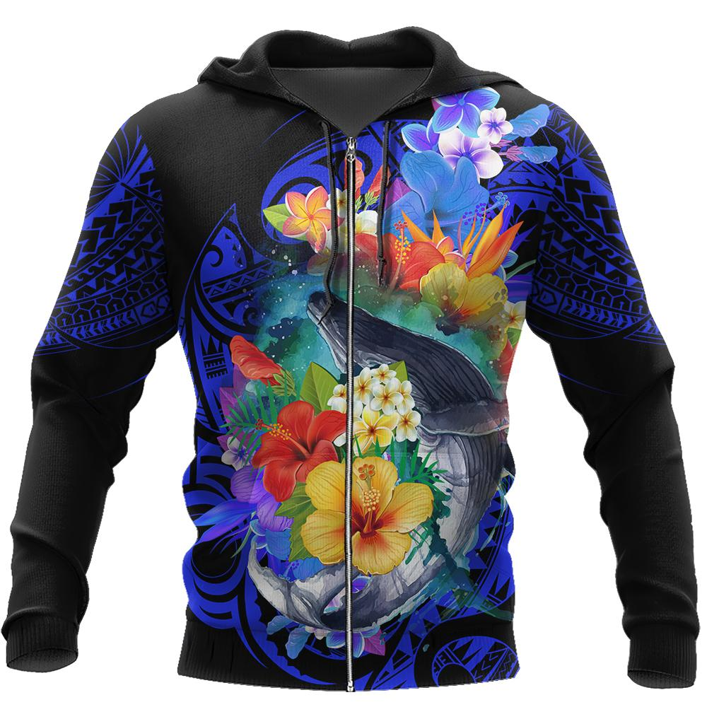 Amazing Kanaka Maoli Humpback Whale with Tropical Flowers Hoodie Tshirt for Men and Women-ML