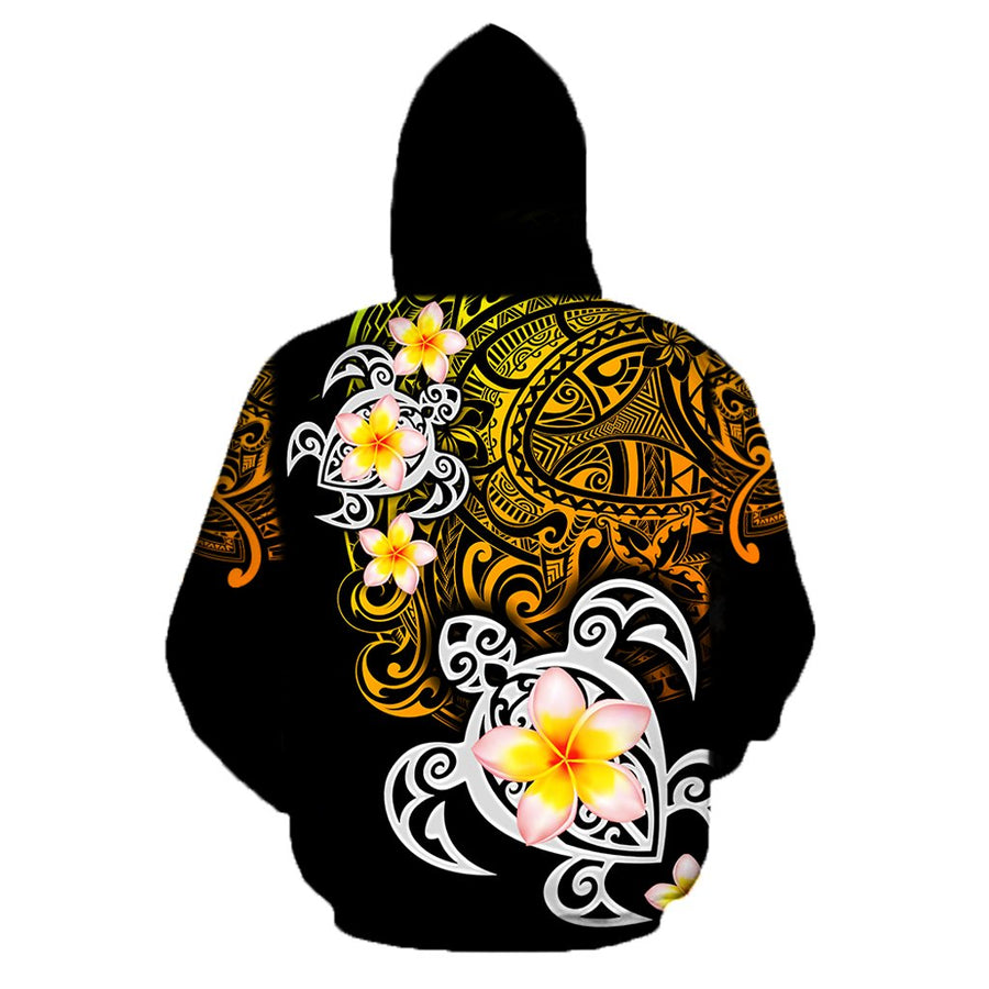 Amazing Polynesian Tattoo Turtle Unisex Hoodie ML