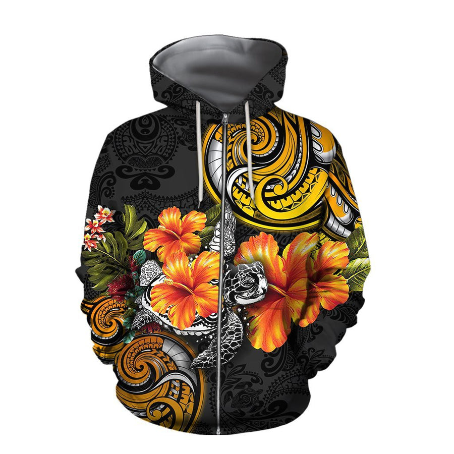 Amazing Polynesian Turtle Hibiscus Hoodie for Men and Women-ML