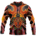 Aboriginal Turtle Touch the Sun Bedding Set, Australia Indigenous Painting Art shirts for men and women-Apparel-Huyencass-Zipped Hoodie-S-Vibe Cosy™