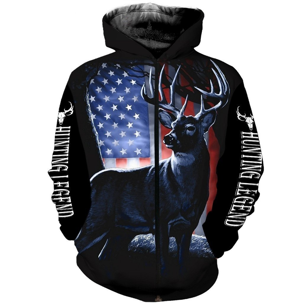 American Hunter Legend 3D Printed DC017-Apparel-DC-Zip-Hoodie-S-Vibe Cosy™