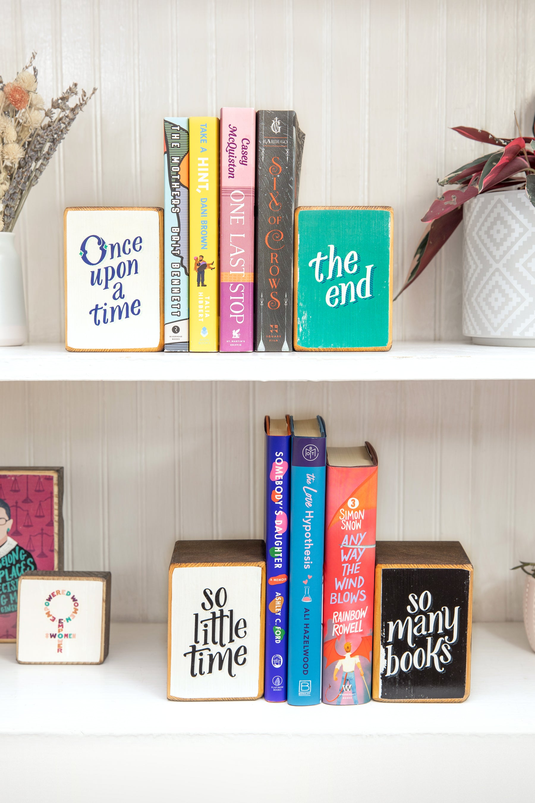 ARCHd wood bookend sets, with 7 books by women authors you should read