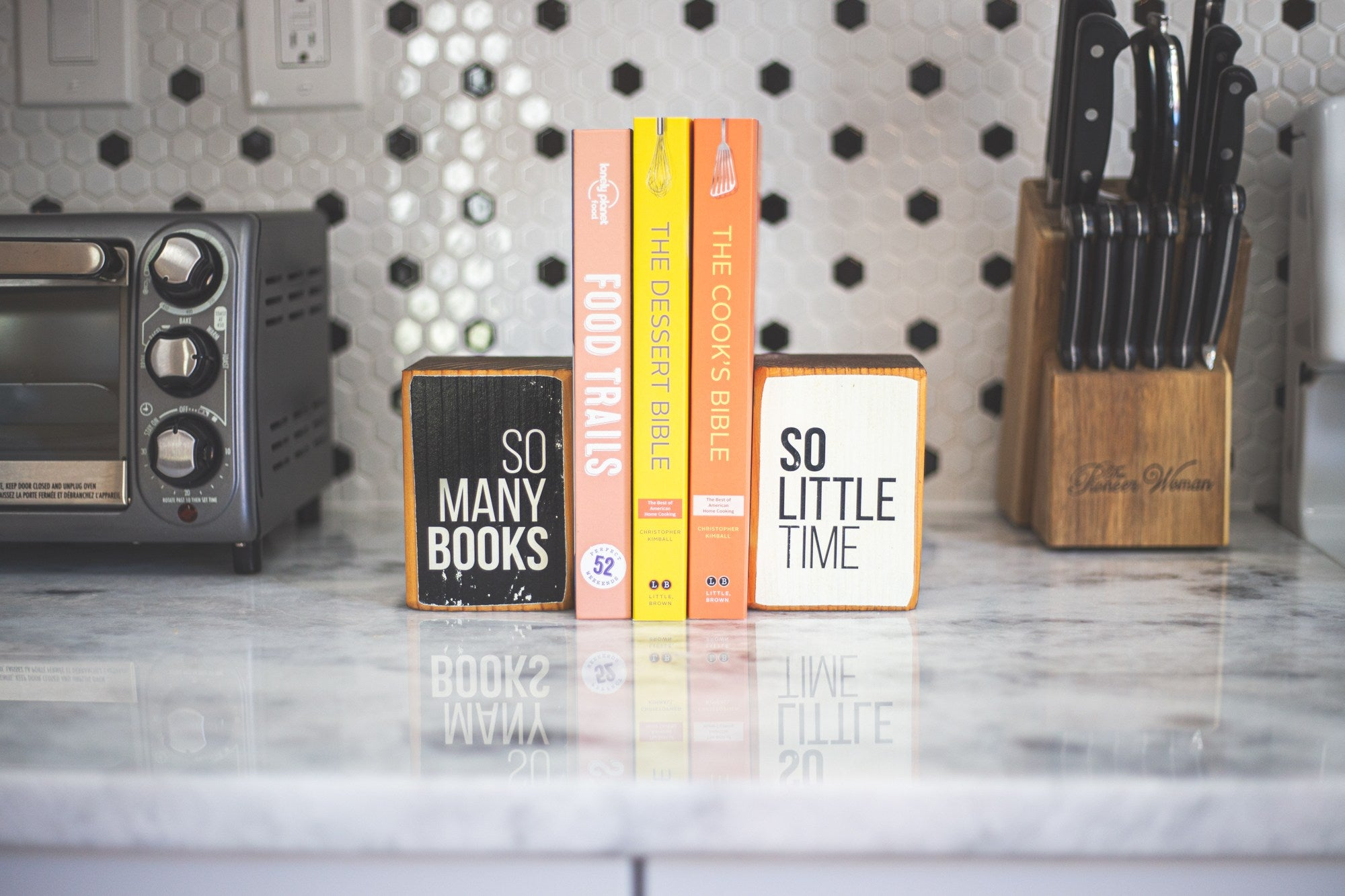 So Many Books So Little Time wood bookend set kitchen decor by ARCHd