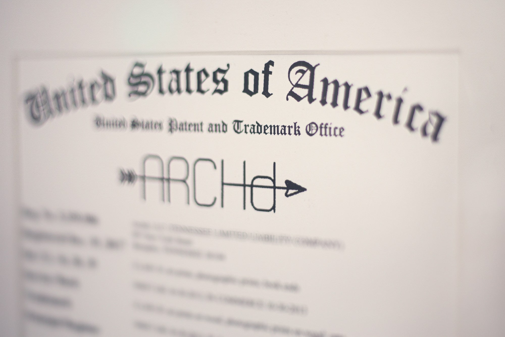ARCHd United States Patent and Trademark Office certificate