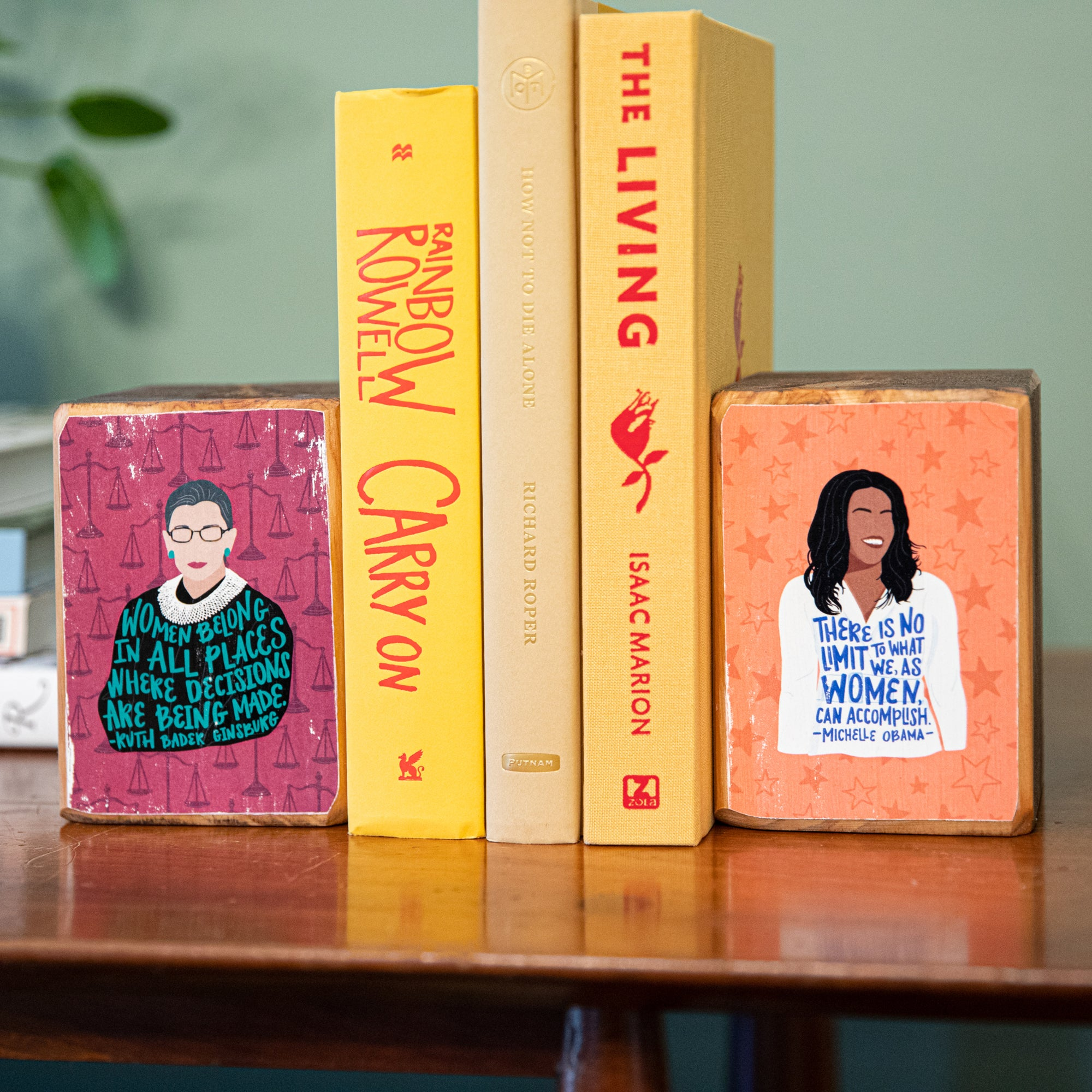 Build your own feminist bookend set by ARCHd Ruth Bader Ginsburg and Michelle Obama illustrations