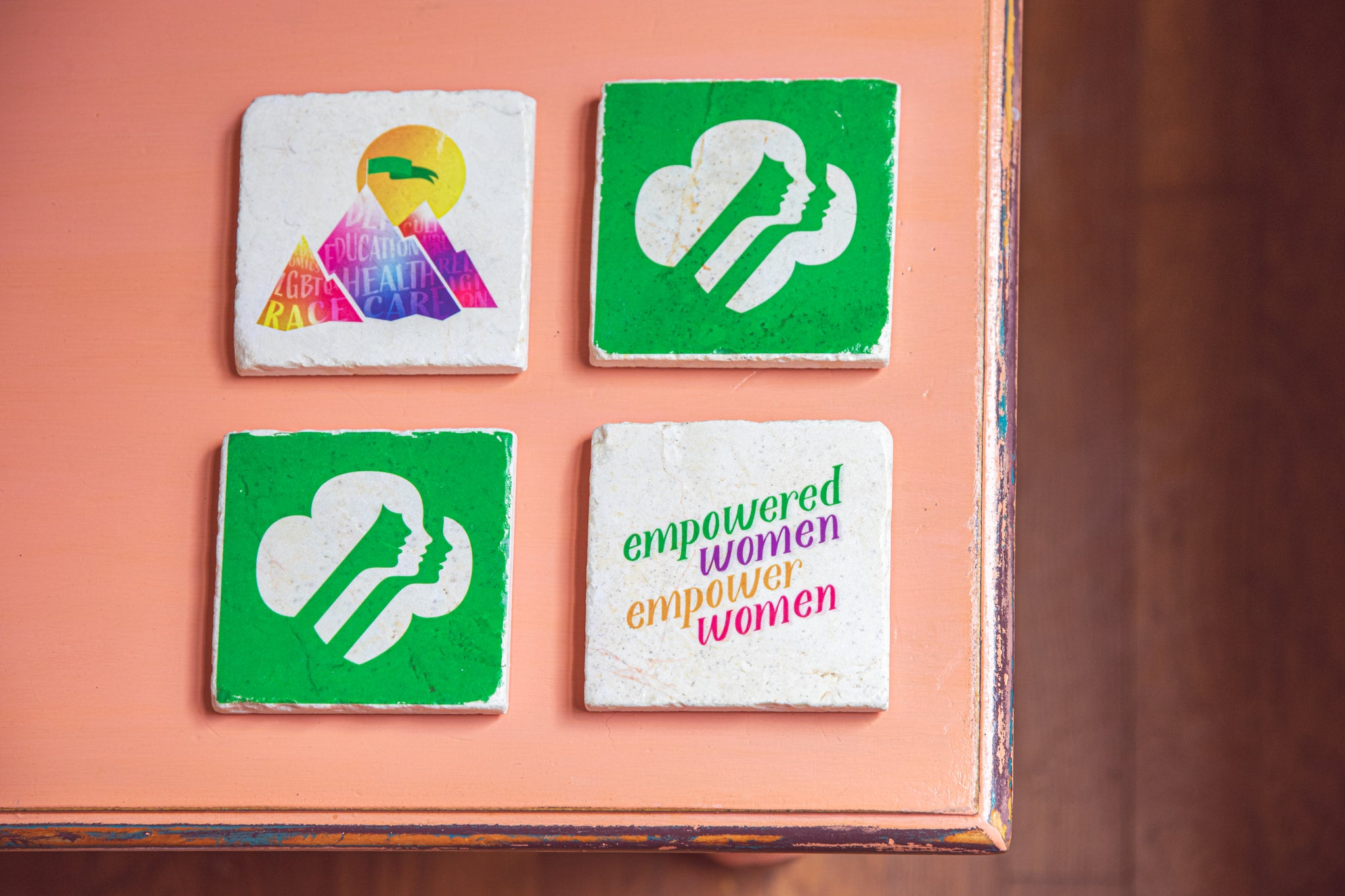 Archd custom gifts marble coaster set of 4 for Girl Scouts of Western washington