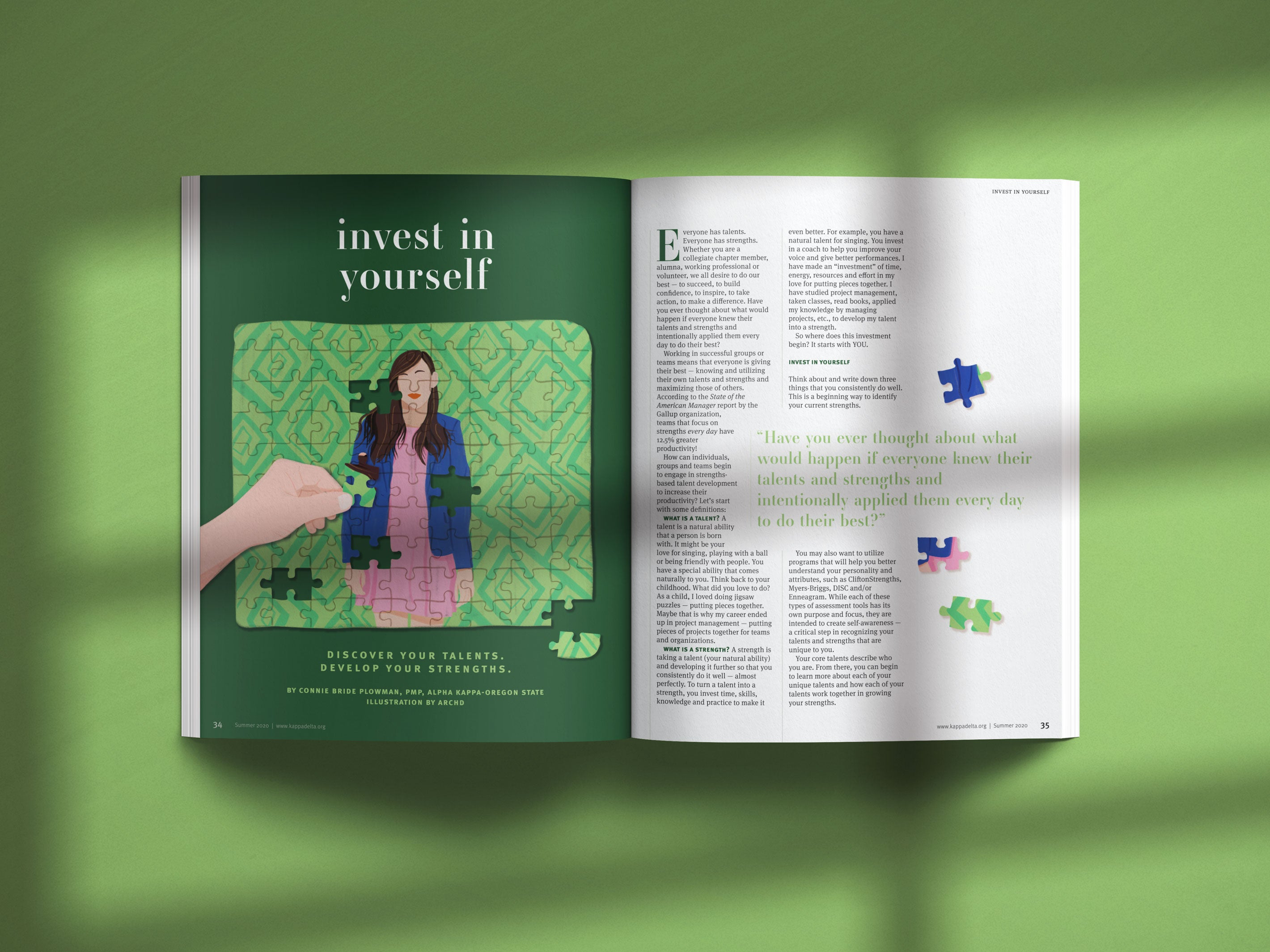 invest in yourself woman puzzle piece editorial illustration magazine design