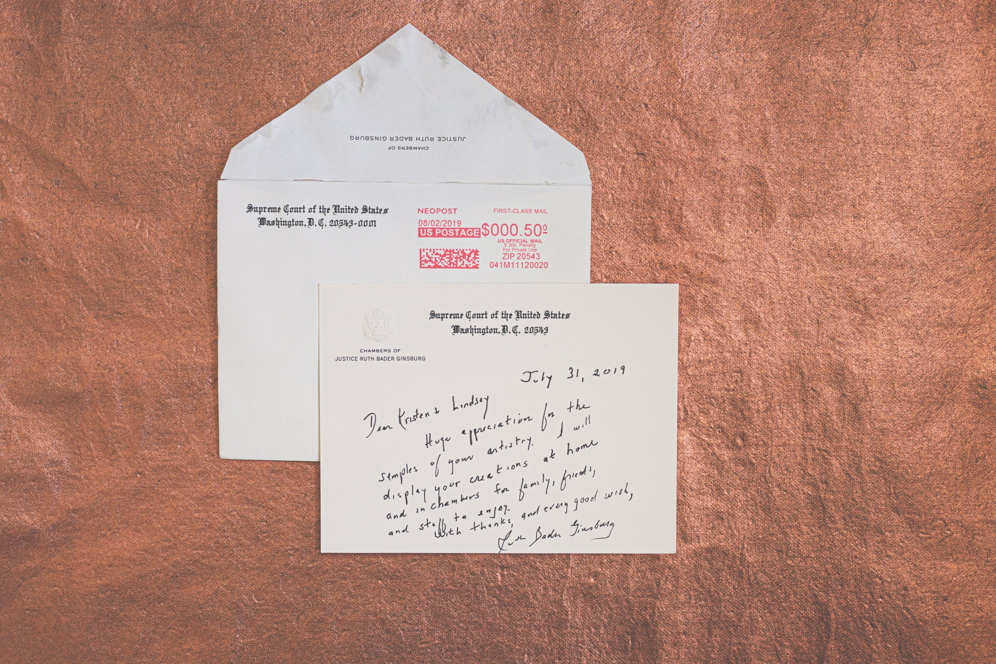 Supreme Court Justice Ruth Bader Ginsburg handwritten letter to Kristen and Lindsey Archer of ARCHd