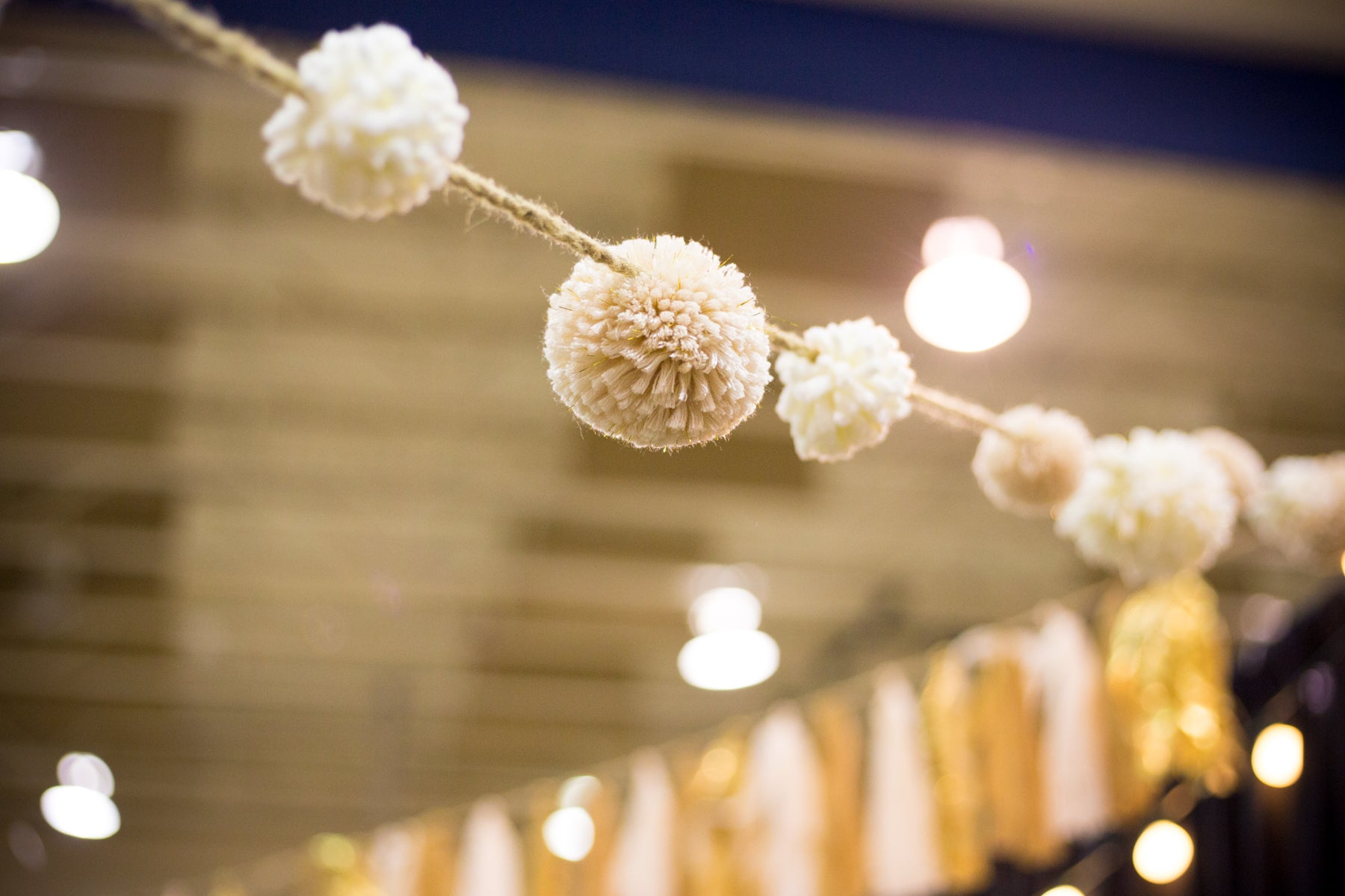 Vendor booth decor pom pom fabric garland ARCHd