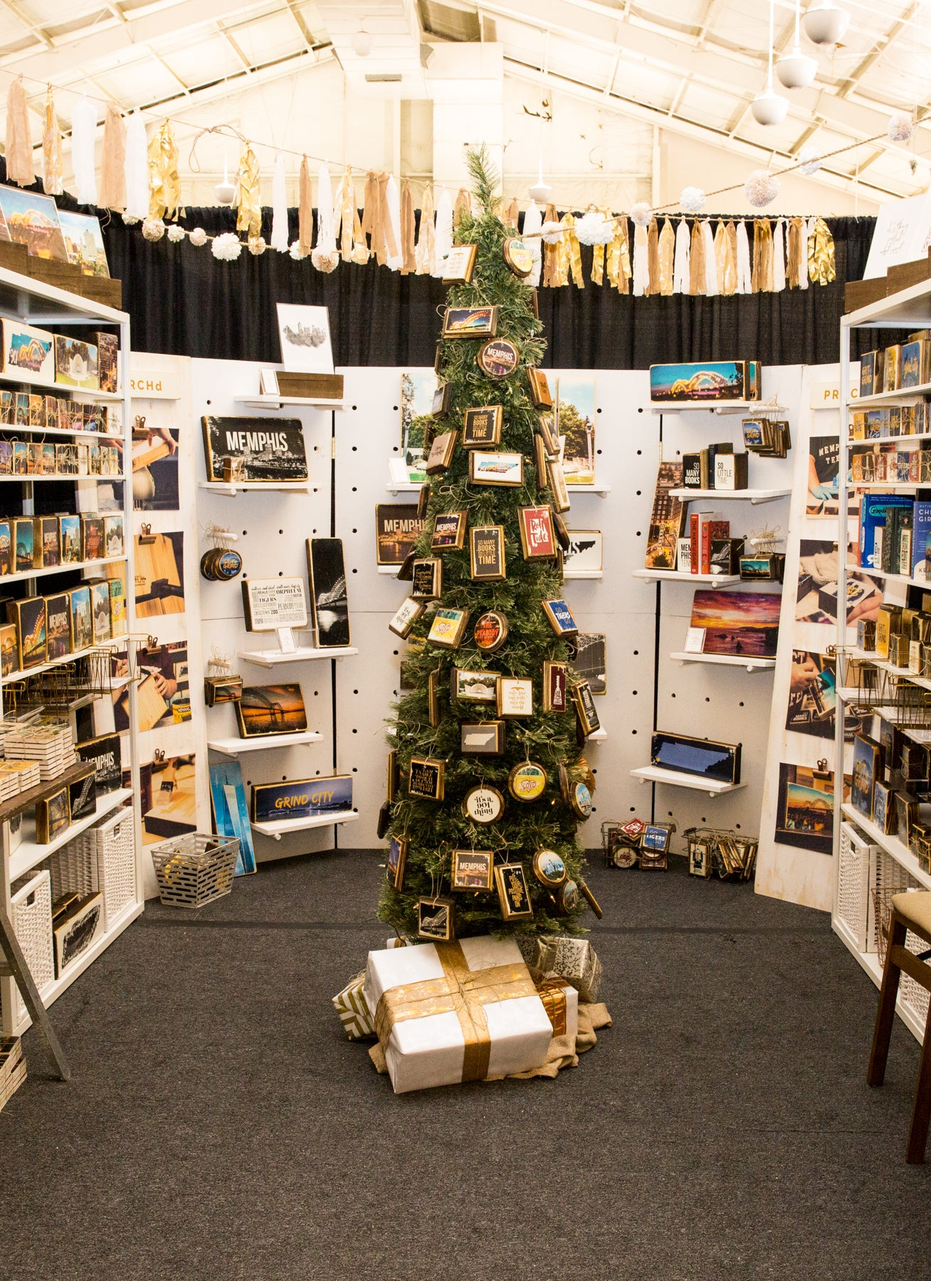 Vendor booth display ideas slim christmas tree ornament display