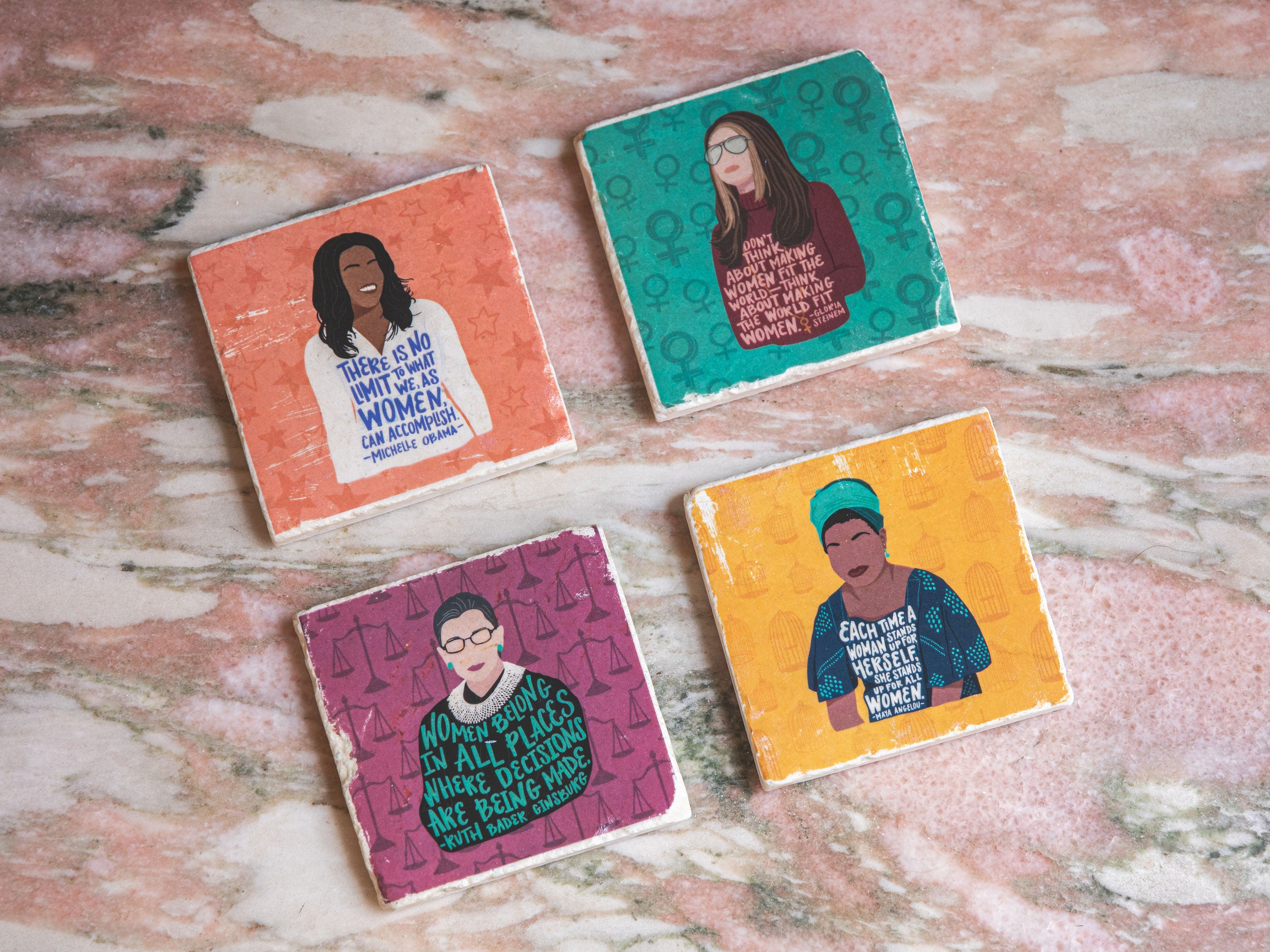 feminist illustration marble tile coaster set