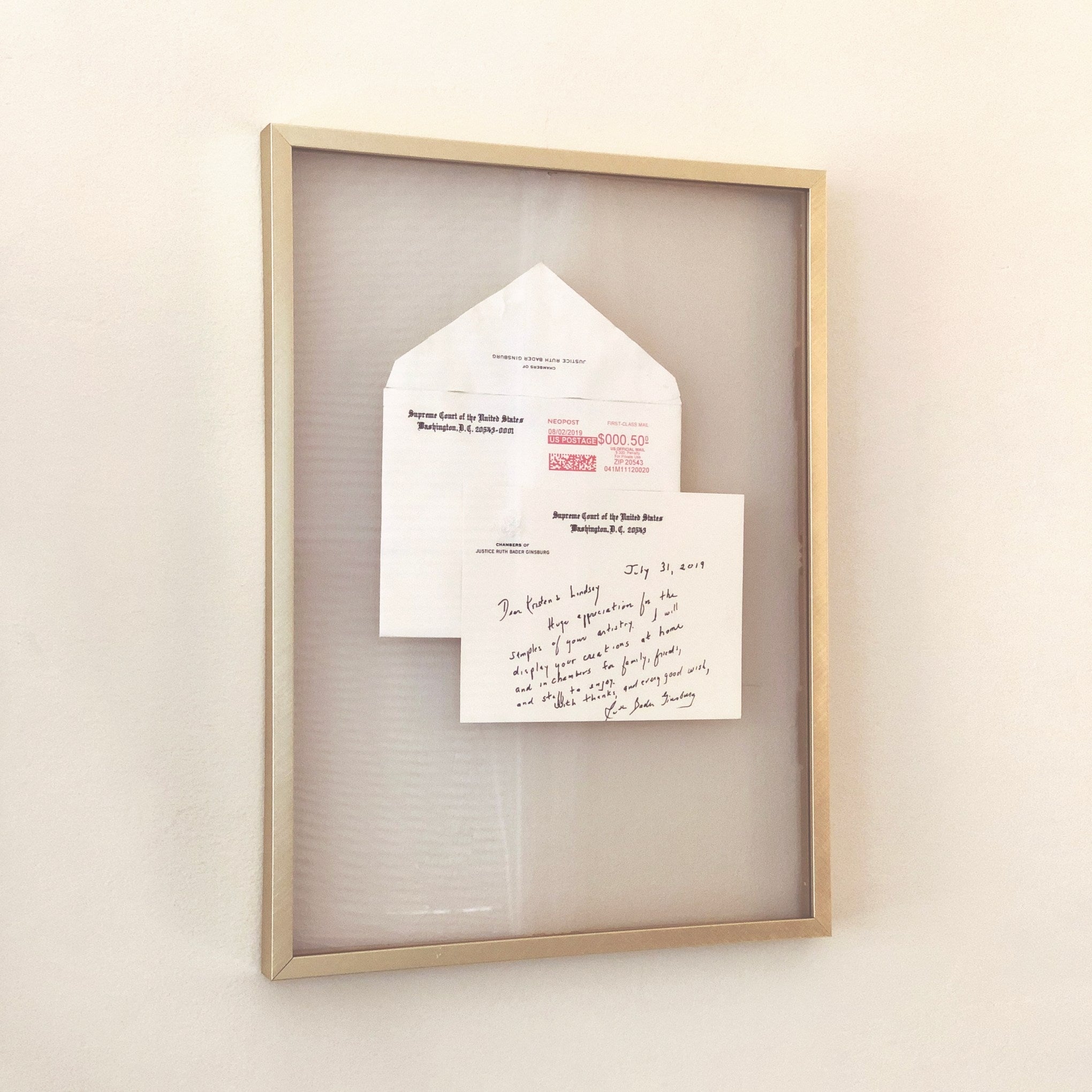 Framed letter from Ruth Bader Ginsburg to Kristen and Lindsey Archer of ARCHd