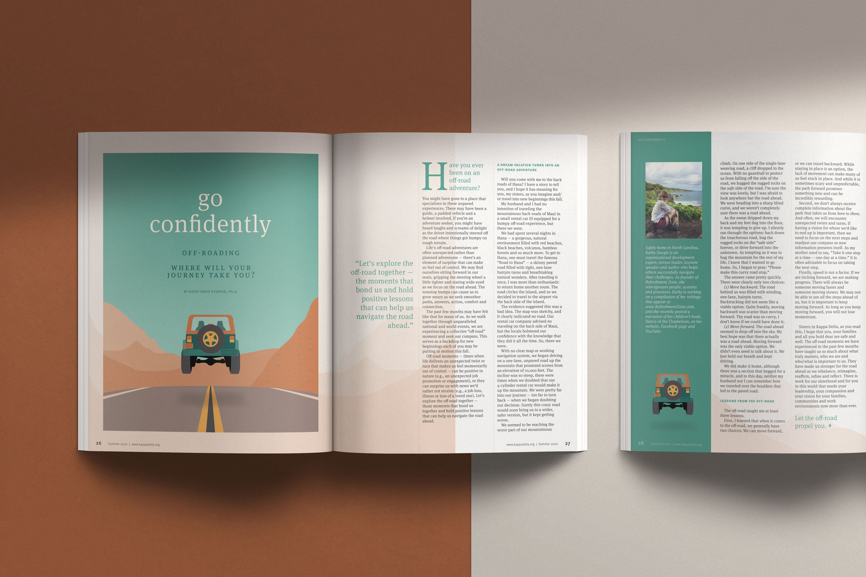 off-road editorial illustration with feature article spread