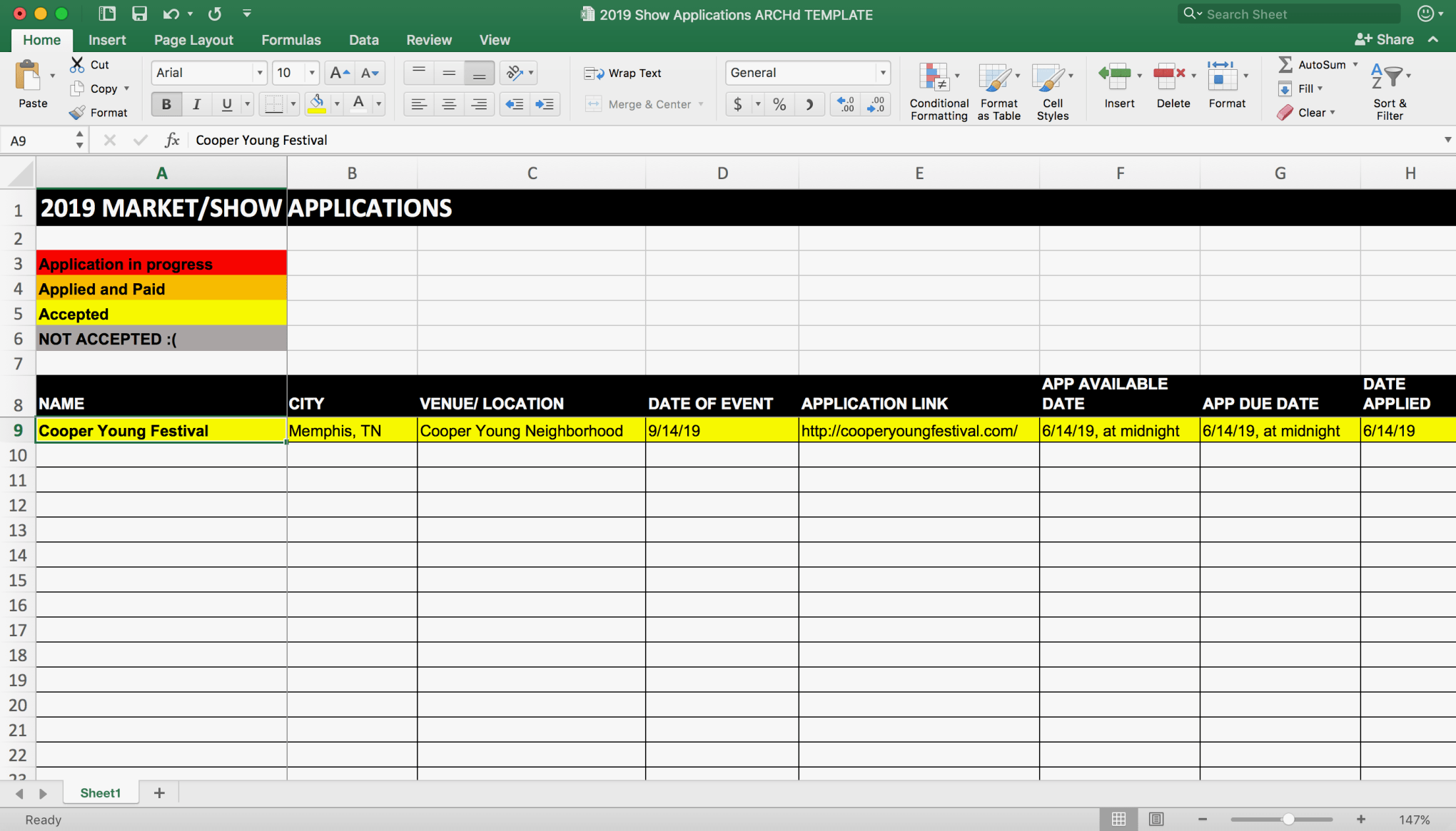 Vendor Booth show tracker Excel Spreadsheet Template