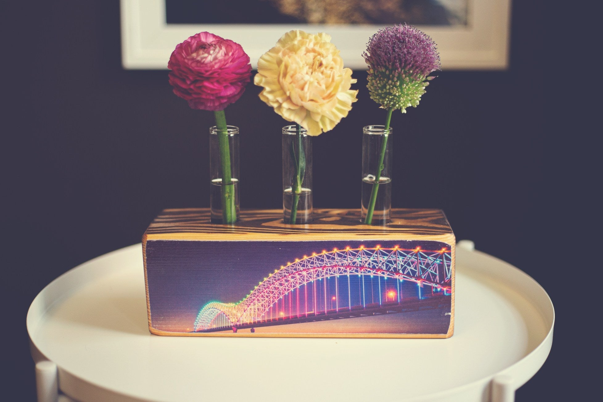 ARCHd wood bud vase memphis bridge rainbow