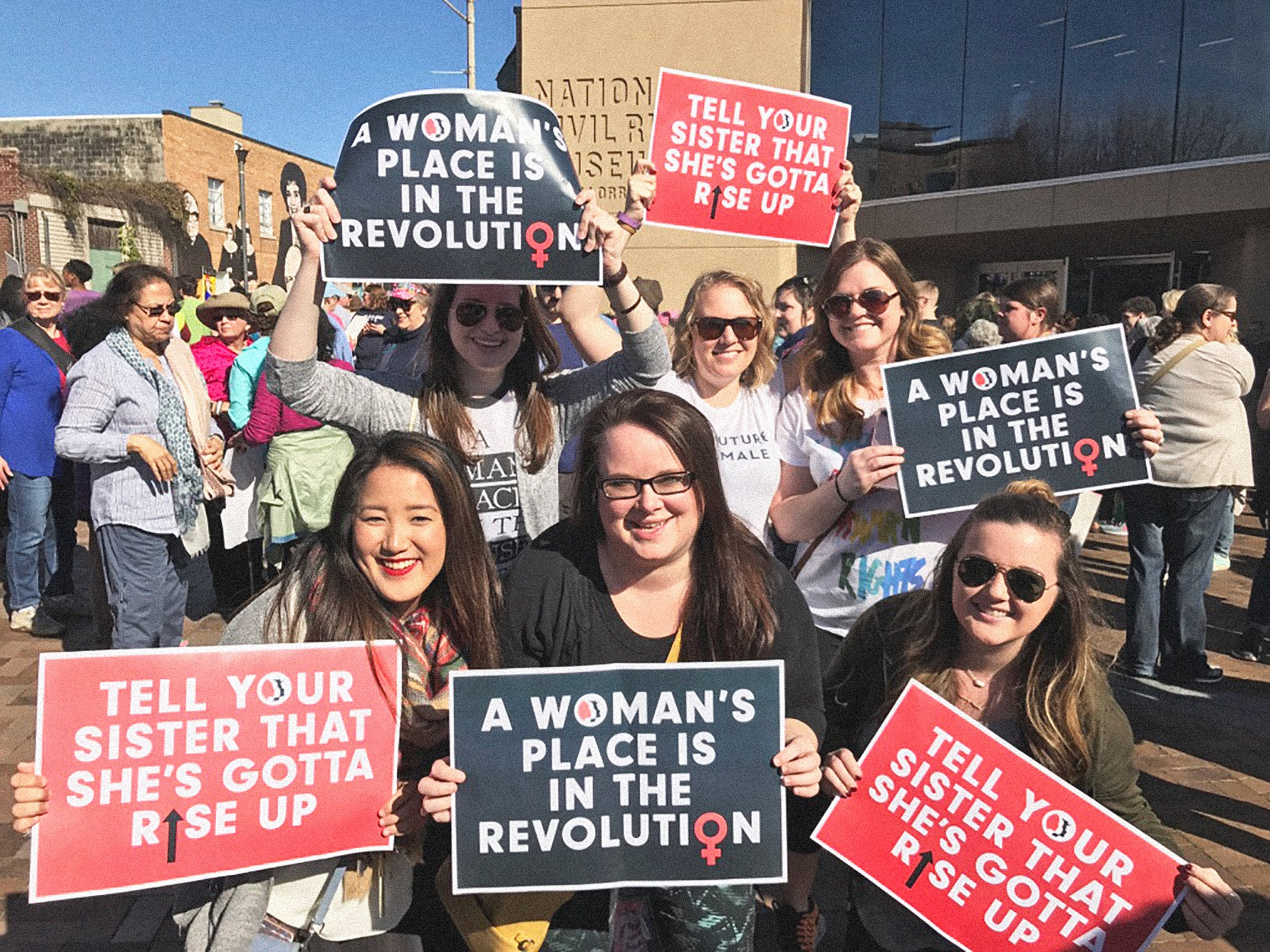 Women's March, Memphis, January 2017, Group of women with signs
