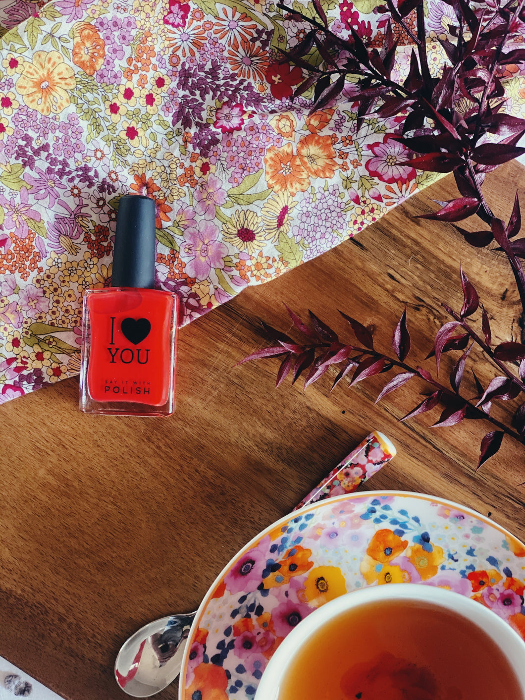 'I Heart You' Nail Polish in Coral Red