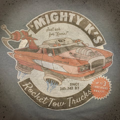 Rocket Tow Truck tee - The Flying Pork Apparel Co.