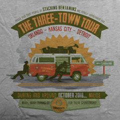 Three-Town Tour tee. - The Flying Pork Apparel Co.