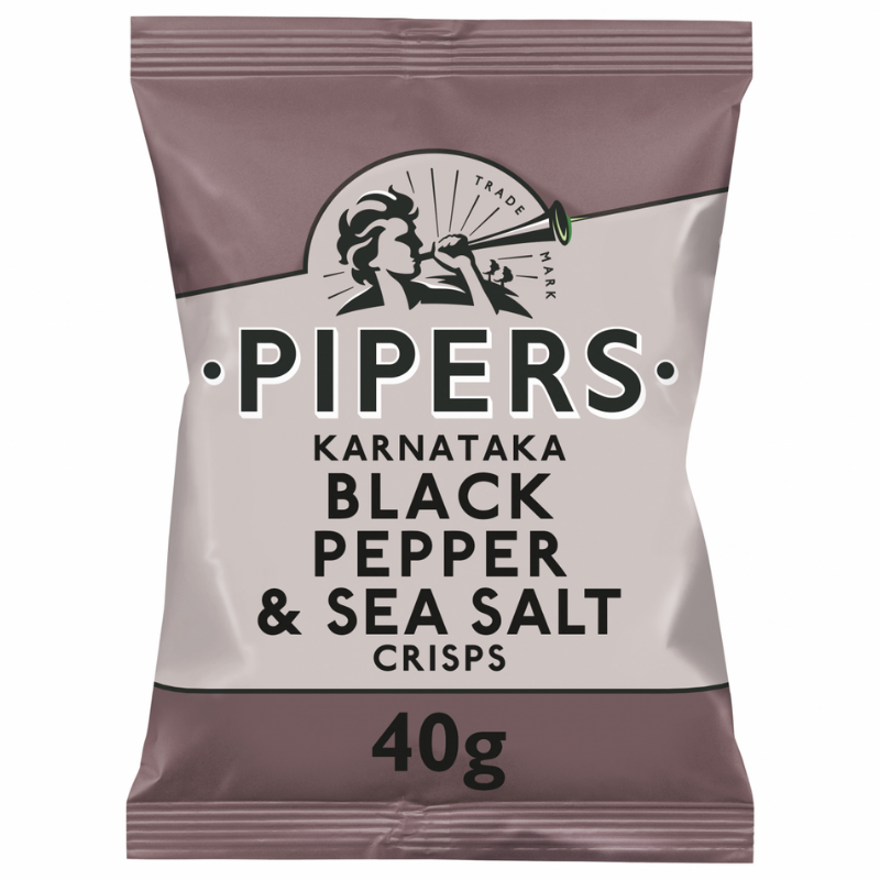 Pipers Karnataka Black Pepper and Sea Salt Crisps 40g BBE: 28/12/20