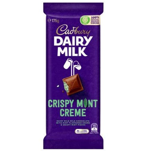 Cadbury Dairy Milk Crispy Mint Creme Big Bar 175g AUSTRALIA IMPORT